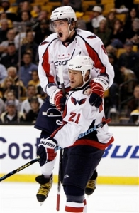 Alex Ovechkin and Brooks Laich celebrate Laich's first goal of the season. The Caps beat Boston 4-1.